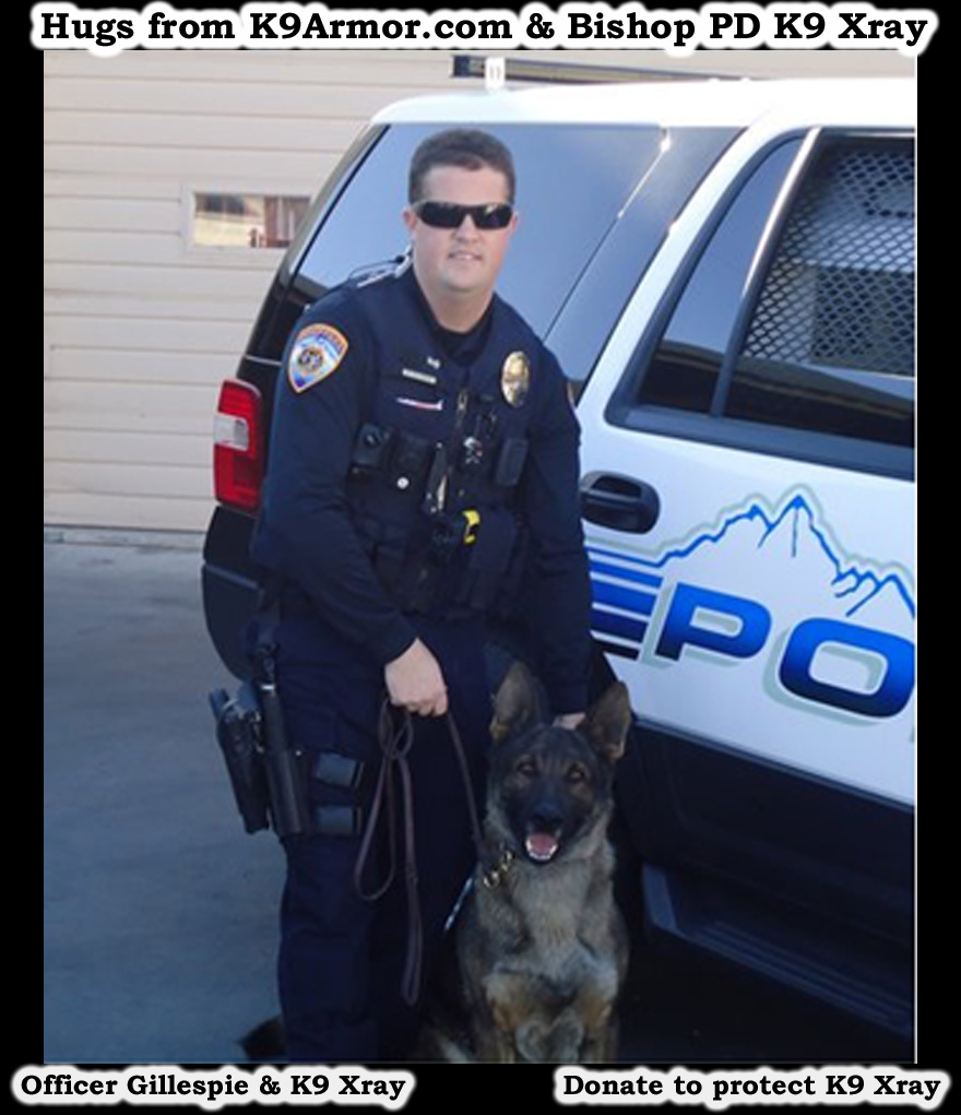 We need donations for Bishop P.D. Officer Gillespie and K9 Xray
