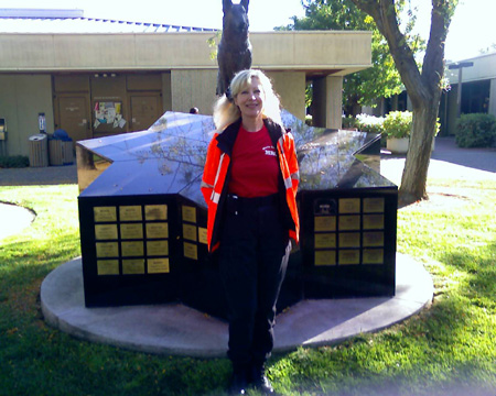 Suzanne Saunders at California Animal Emergency Response System training at UC Davis Memorial to fallen K-9 police dogs.