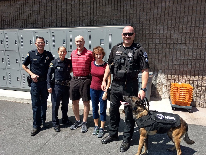 Cpt Aaron Fate, Claremont PD Chief Shelly vander Veen, Officer Snyder, K9 Luther with Rick and Rhonda Speiers