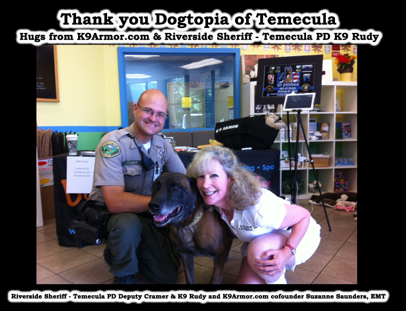 Riverside Sheriff - Temecula PD Deputy Cramer and K9 Rudy and K9Armor.com cofounder Suzanne Saunders