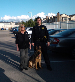 Click to see giant picture El Cerrito resident Ginger Cava with El Cerrito PD Officer Leone and K9 King