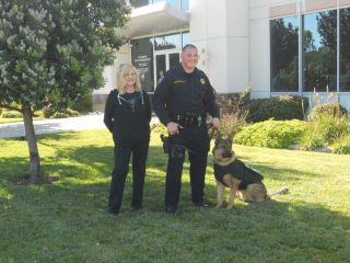 Ginger Cava with El Cerrito PD Officer Del Prado and K9 King