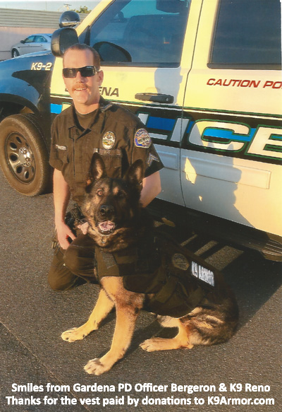 Gardena PD Officer Mike Bergeron and K9 Reno.