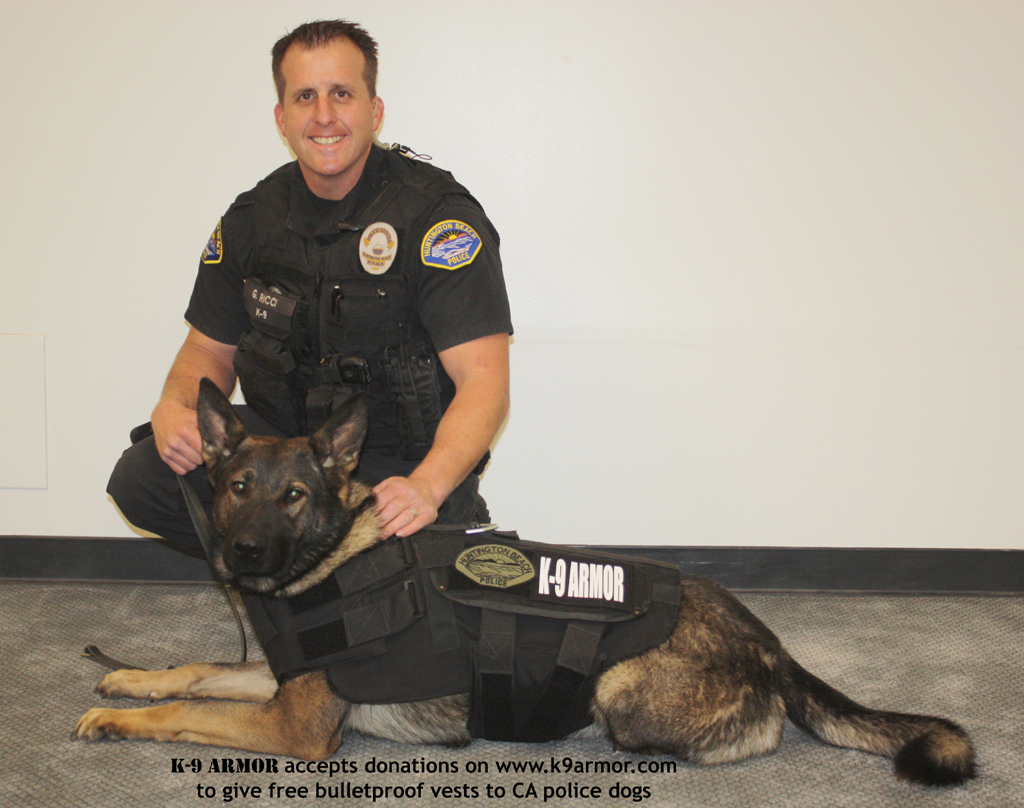 K-9 Armor is proud to protect Huntington Beach PD K9 Xavi with Officer Ricci