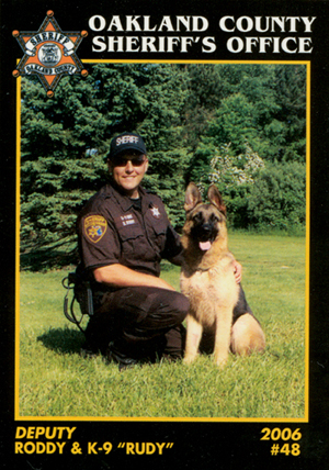 Click for giant image Deputy Roddy and K-9 Rudy, Oakland Co Mi