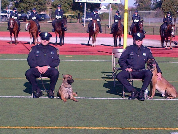 Richmond PD Officer Palma and K9 Ronin with Officer Avila and K9 Bosco