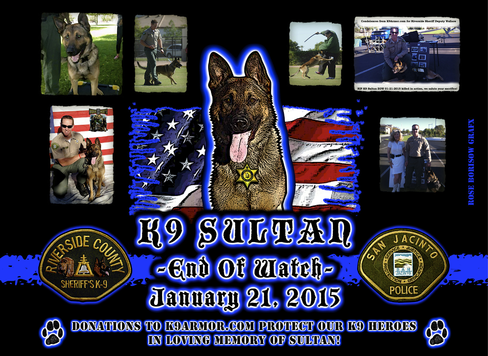 Donations to K9Armor.com protect our K9 Heroes in loving memory of K9 Sultan. Memorial Tribute by Officer Rose Borisow