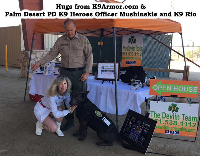 Palm Desert PD Officer Mushinskie with K9 Rio and K9 Armor cofounder Suzanne Saunders