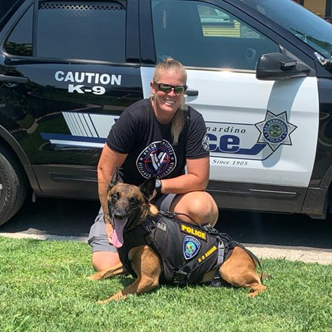 San Bernardino PD K9 Heroes Officer Flint and K9 Bexter wearing his K9 Armor vest