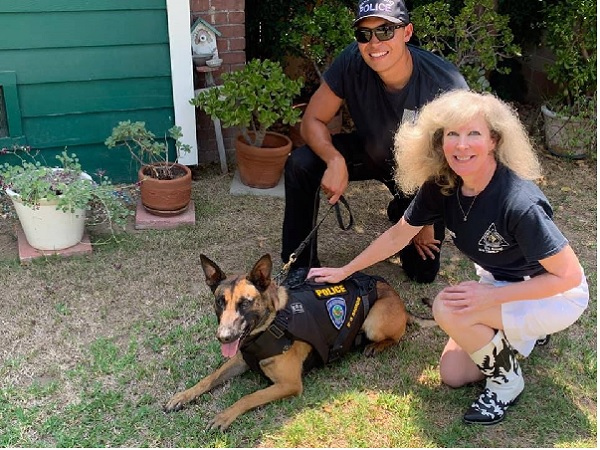Hugs from K9 Armor cofounder Suzanne and San Bernardino PD K9 Heroes Officer Guzman and K9 Falco