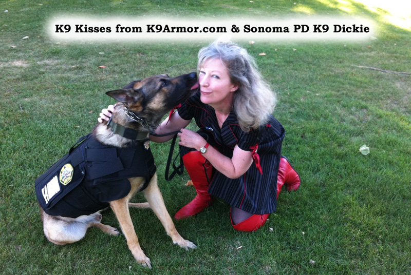 Sonoma PD K9 Dickie gives k9 kisses to K-9 Armor co-founder Suzanne Saunders