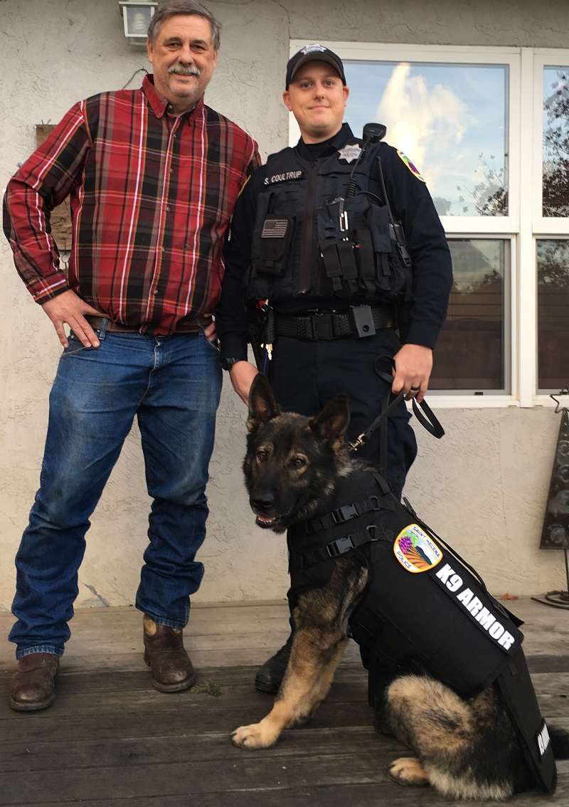 Dr Gold with St Helena PD Officer Coultrup and K9 Barrett