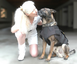 St Helena PD K9 Djino thanks Suzanne Saunders, K9 Armor Co-Founder for his bulletproof vest