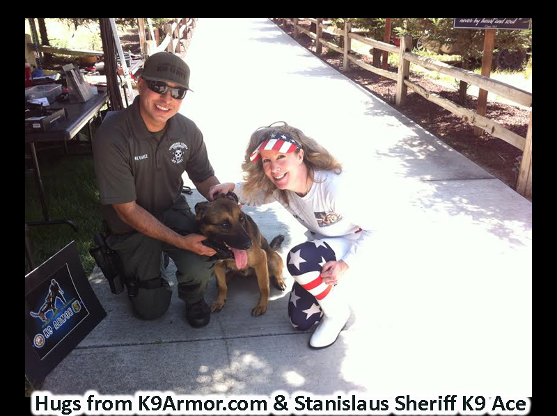 Hugs from Stanislaus Sheriff Deputy Nevarez and K9 Ace with K9 Armor cofounder Suzanne Saunders.