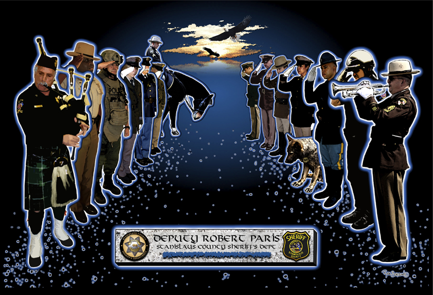 Memorial to Stanislaus County Deputy Robert Paris by Rose Borisow GraFX
