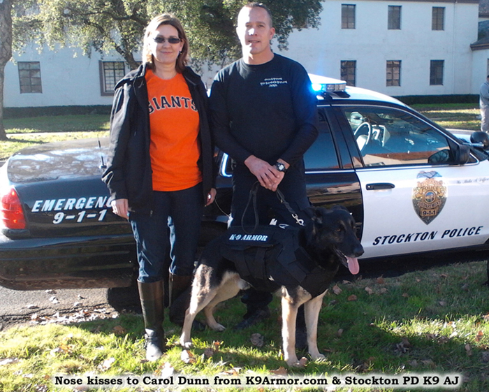 Nose kisses to sponsor Carol Dunn from K9Armor.com and Stockton PD K9 AJ