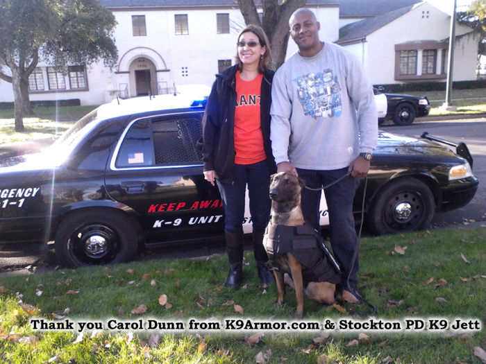 Hugs and thank you Carol Dunn for donating to K9Armor.com for Stockton PD K9 Jett