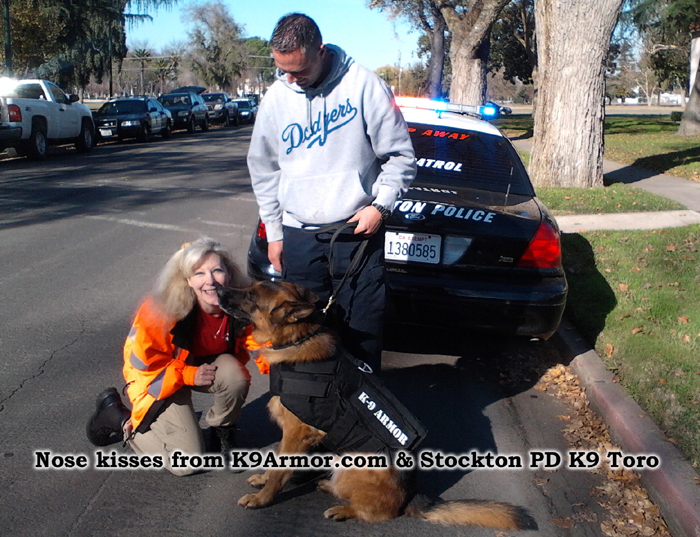 Nose kisses from K9Armor.com and Stockton PD K9 Toro