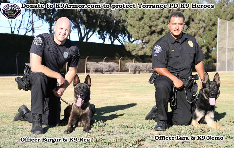 Torrance Police Officer Bargar and K9 Rex, Officer Lara and K9 Nemo