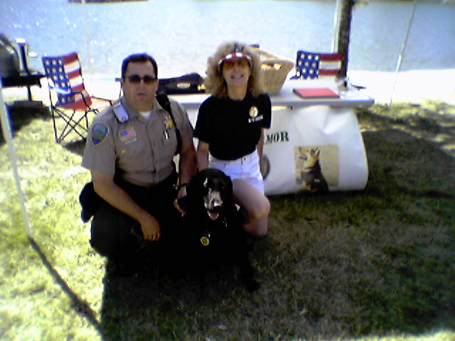 K9 Armor President Deputy Dan Marrett and K9 Verona with Cofounder Suzanne Saunders, EMT