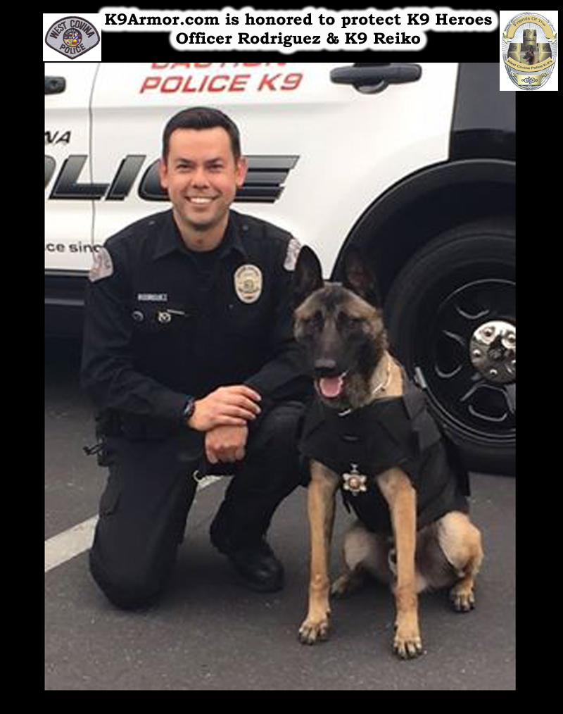 West Covina Police Officer Rodriguez and Reiko wearing his K9 Armor vest and Medal of Valor